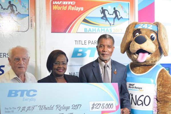 From left: Keith Parker, Managing Director, Local Organising Committee; Rosamunde Carey, CEO, BTC/IAAF World Relays Bahamas 2017; Leon Williams, CEO, BTC and Bingo, Mascot, BTC/IAAF World Relays Bahamas 2017. (organisers)