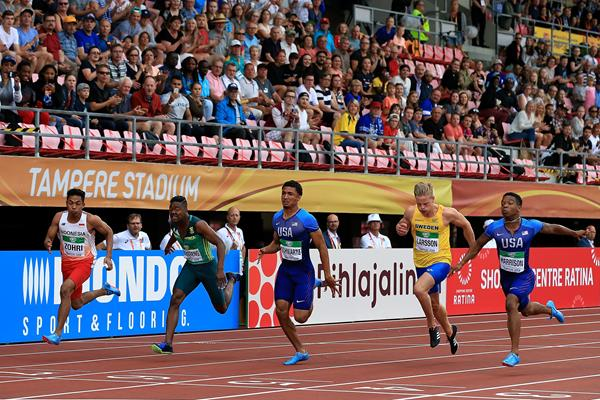 Lalu Muhammad Zohri of Indonesia (far left) wins the 100m at the IAAF World U20 Championships Tampere 2018 (Getty Images)