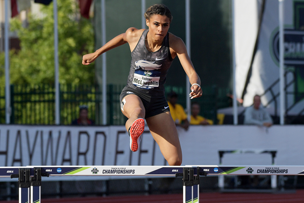Sydney McLaughlin in the 400m hurdles at the NCAA Championships (Kirby Lee)