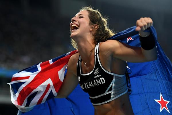 Eliza McCartney after winning the bronze medal in the pole vault at the 2016 Rio Olympic Games (Getty)