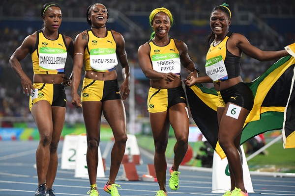 The Jamaican 4x100m team after taking silver at the Rio 2016 Olympic Games (AFP / Getty Images)