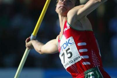 Andrei Krauchanka of Belarus competing in the Javelin discipline in the men's Decathlon (Getty Images)