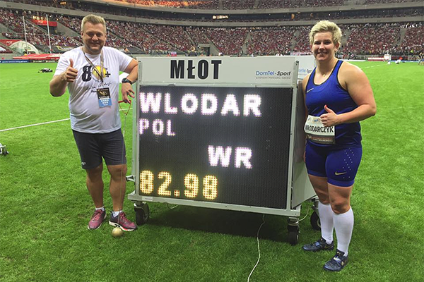 Anita Wlodarczyk after breaking the hammer world record in Warsaw (Organisers)