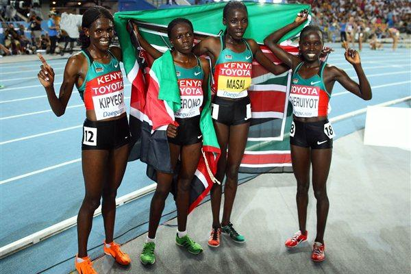 Kenya celebrates sweeing the first four positions in the women's 10,000m won by Vivian Cheruiyot (Getty Images)