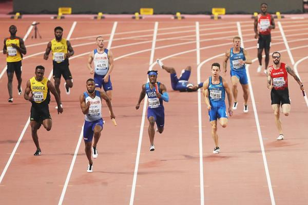 Great Britain in the men's 4x100m heats at the IAAF World Athletics Championships Doha 2019 (Getty Images)