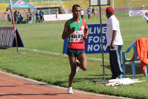 Getaneh Tamire on his way to winning the 5000m at the Ethiopian Championships (Bizuayehu Wagaw)