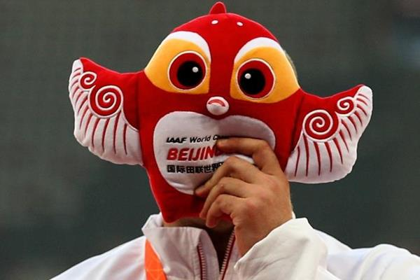 Discus winner Piotr Malachowski receives his medal at the IAAF World Championships, Beijing 2015 (Getty Images)