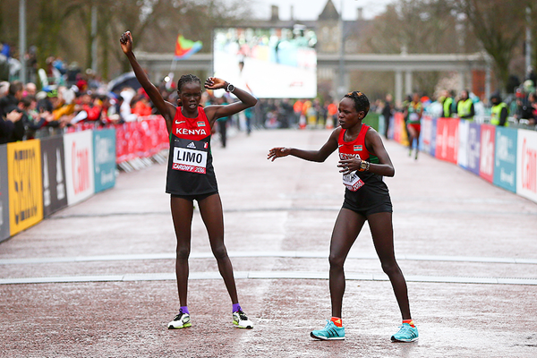 Peres Jepchirchir and Cynthia Limo after finishing first and second at the IAAF/Cardiff University World Half Marathon Championships Cardiff 2016 (Getty Images)