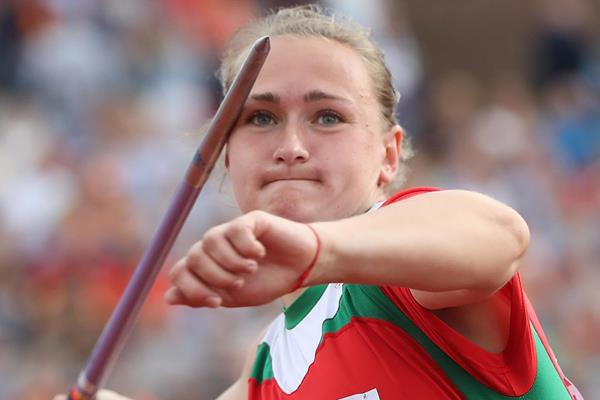 Tatsiana Khaladovich of Belarus winning the javelin title at the European Championships (Getty Images)
