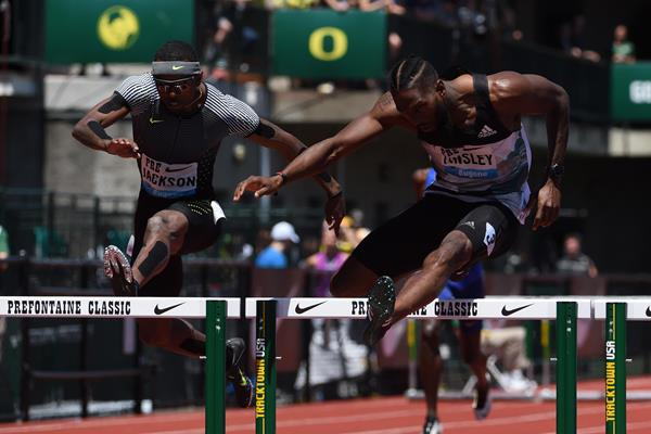 Michael Tinsley (right) at the 2016 IAAF Diamond League meeting in Eugene (Kirby Lee)