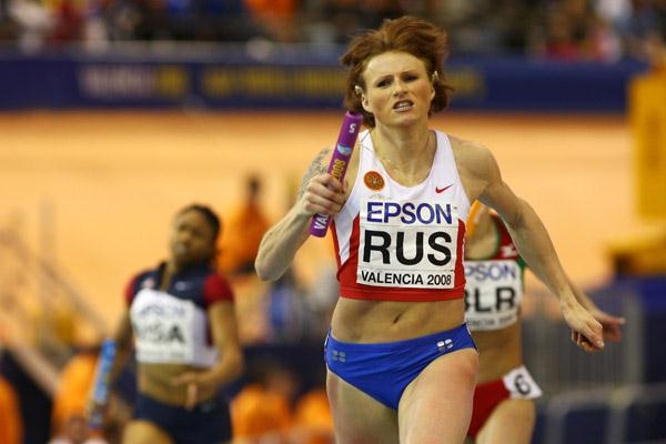 Olesya Zykina wins her second gold medal of the day in the women's 4x400m relay (Getty Images)