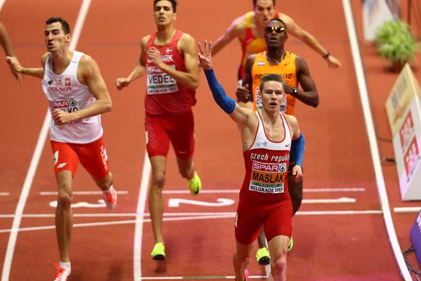 Pavel Maslak of Czech Republic celebrates his third consecutive 400m title at the European Indoor Championships in Belgrade (Getty Images)