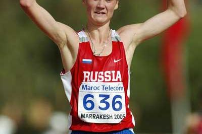 Sergey Morozov of Russia wins the 10,000m Race Walk final at the World Youth Championships (Getty Images)
