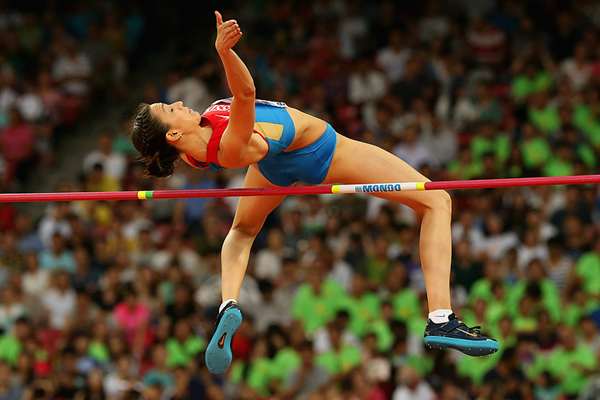 Russia's Maria Kuchina in action in the high jump (Getty Images)