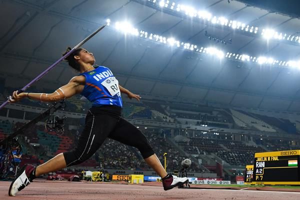 Indian javelin thrower Annu Rani at the 2019 World Championships (AFP/Getty Images)