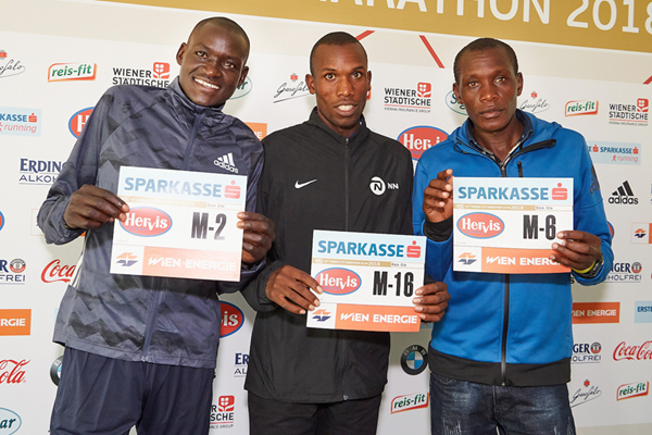 Dennis Kimetto, Nicholas Rotich and Ishmael Bushendich ahead of the Vienna City Marathon (VCM / Leo Hagen)
