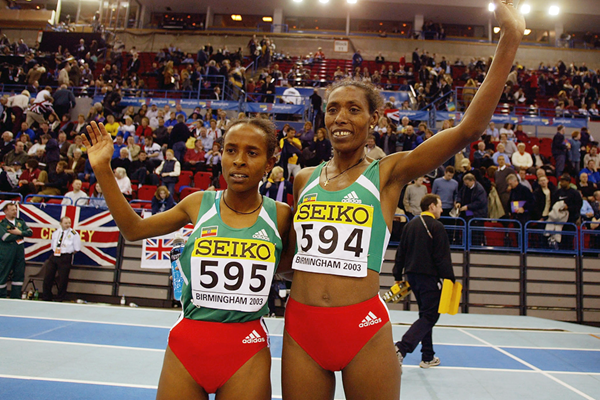 Meseret Defar and Berhane Adere after the 3000m at the 2003 IAAF World Indoor Championships in Birmingham (Getty Images)