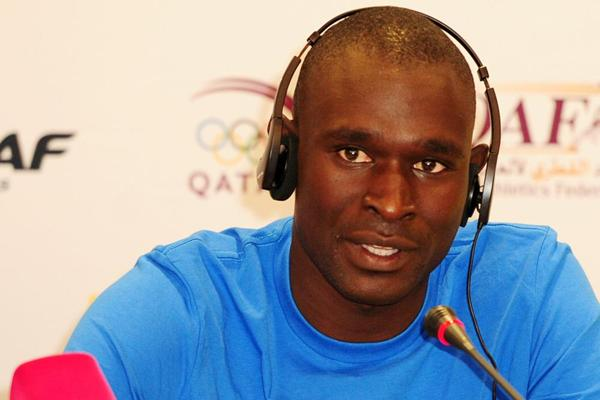 David Rudisha at the Doha 2013 Diamond League press conference (Errol Anderson)