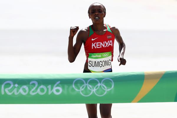 Jemima Sumgong wins the marathon at the Rio 2016 Olympic Games (Getty Images)