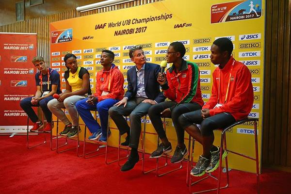 Athletes talking at the press conference ahead of the IAAF World U18 Championships Nairobi 2017 (Getty Images)