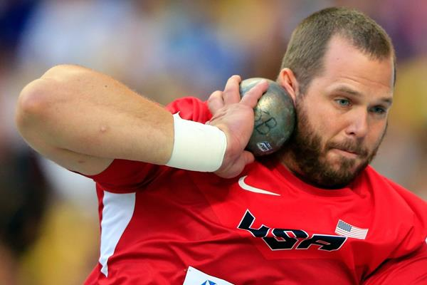 US shot putter Ryan Whiting on his way to taking the silver medal at the 2013 IAAF World Championships in Moscow (Getty Images)