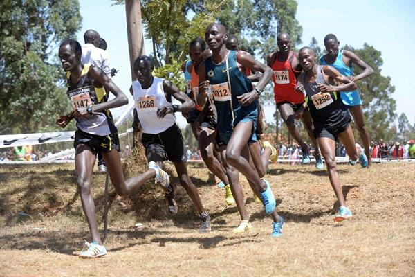 The leading men at the 2015 Discovery Kenya race, including Asbel Kirop (1012) (Jiro Mochizuki)