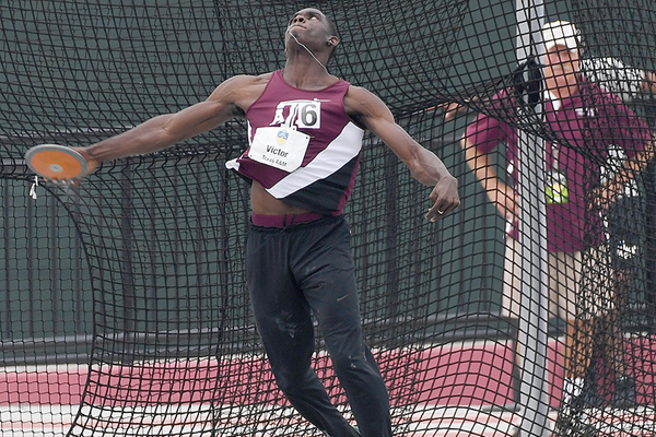Lindon Victor in the decathlon discus at the SEC Championships (Shawn Price / Texas A&M University)
