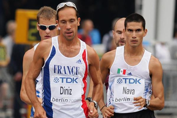 Yohann Diniz leads the 50km Race Walk at the 2009 IAAF World Championships in Berlin (Getty Images)