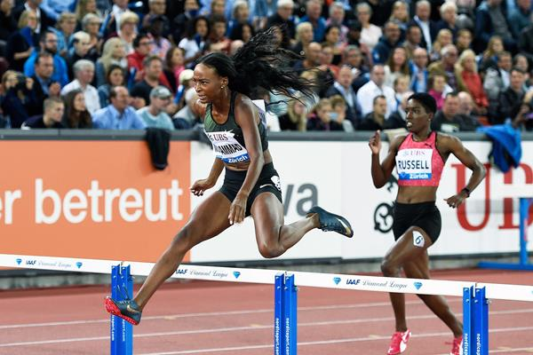 Dalilah Muhammad on her way to winning the 400m hurdles at the IAAF Diamond League final in Zurich (Mark Shearman)