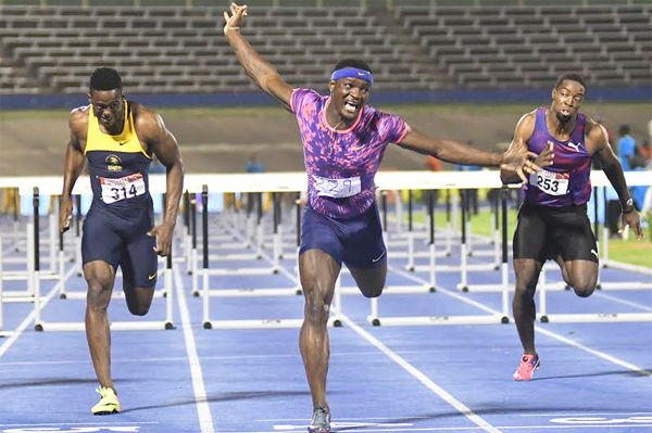 Omar McLeod wins the 110m hurdles at the Jamaican Championships (Bryan Cummings / Jamaica Observer)