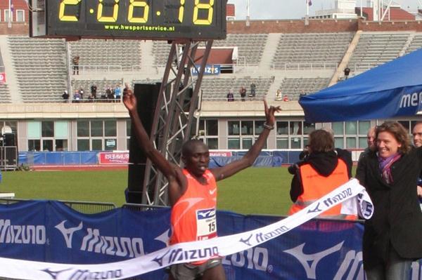 Auspicious debut - 2:06:18 for Gilbert Yegon in Amsterdam to take down Haile Gebrselassie's course record (Tom Metiary/organisers)
