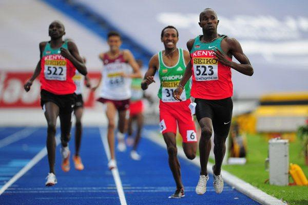 Leonard Kirwa KOSENCHA of Kenya crosses the line to win the Boys 800 metres final - Day Four - WYC Lille 2011 (Getty Images)