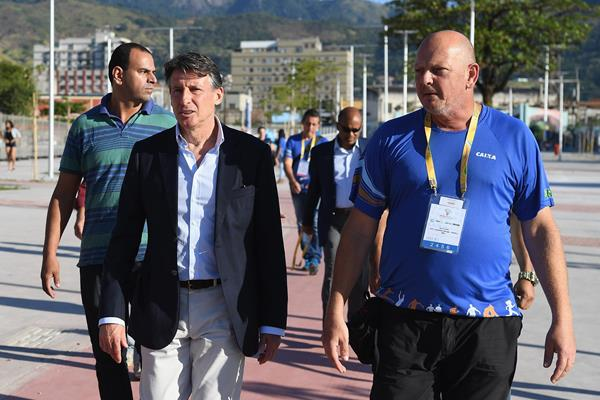 IAAF President Sebastian Coe at the athletics test event in Rio de Janeiro (Getty Images)
