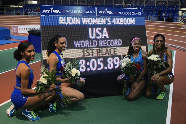 Ajee' Wilson, Charlene Lipsey, Chrishuna Williams and Raevyn Rogers after breaking the 4x800m world record at the Millrose Games (Organisers / John Neopolitan)