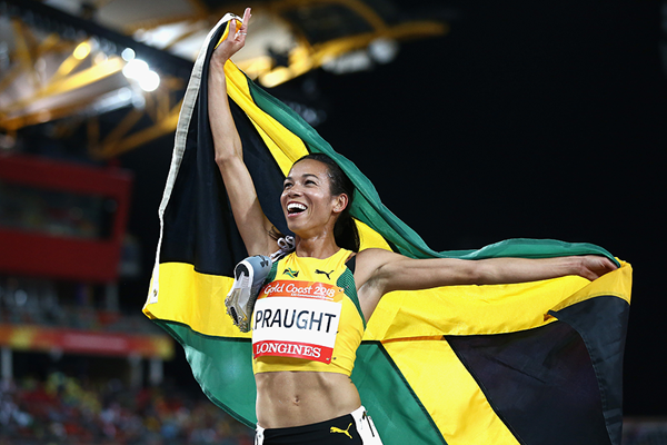 Aisha Praught Leer after winning the steeplechase at the Commonwealth Games (Getty Images)