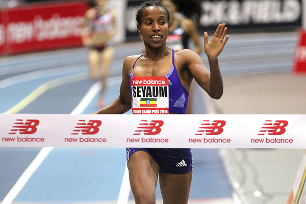 Dawit Seyaum wins the 1500m at the New Balance Indoor Grand Prix in Boston (Andrew McClanahan)
