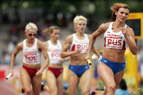 Natalya Antyukh anchors Russia's 4x400m team to victory in Florence (Getty Images)