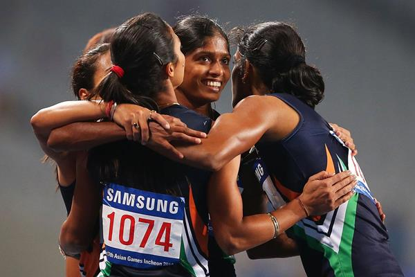The Indian 4x400m team after winning their fourth successive Asian Games title (Getty Images)