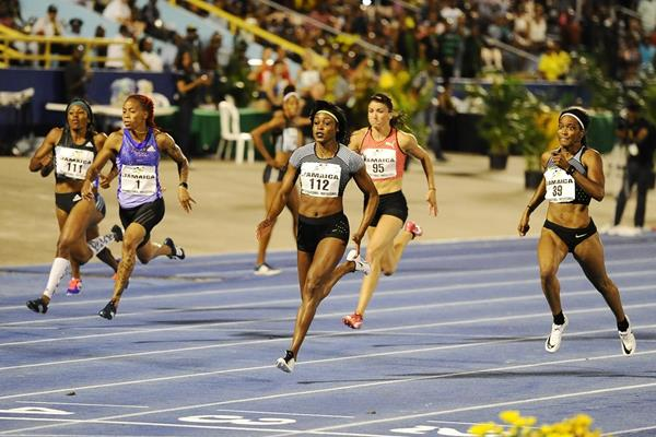 Elaine Thompson wins the 100m at the IAAF World Challenge meeting in Kingston (Errol Anderson)