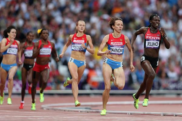 Mariya Savinova of Russia and Pamela Jelimo of Kenya in action during  the Women's 800m Final of the London 2012 Olympic Games on August 11, 2012 (Getty Images)