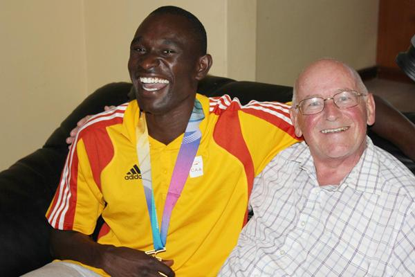 World record-holder David Rudisha with his coach, Colm O'Connell (Myra McSweeney)
