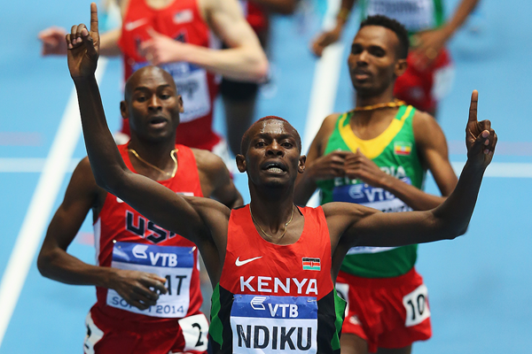 Caleb Ndiku wins the 3000m at the IAAF World Indoor Championships Sopot 2014 (Getty Images)