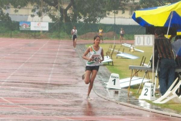 Preeja Sreedharan at a very wet Indian champs (Ram. Murali Krishnan)