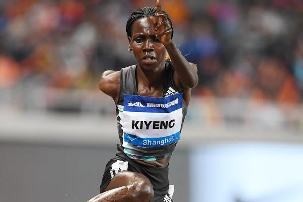 Hyvin Kiyeng in action during the women's 3000m steeplechase in Shanghai (Errol Anderson)