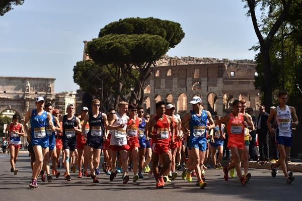 The start of the U20 men's 10km at the IAAF World Race Walking Team Championships Rome 2016 (Getty Images)