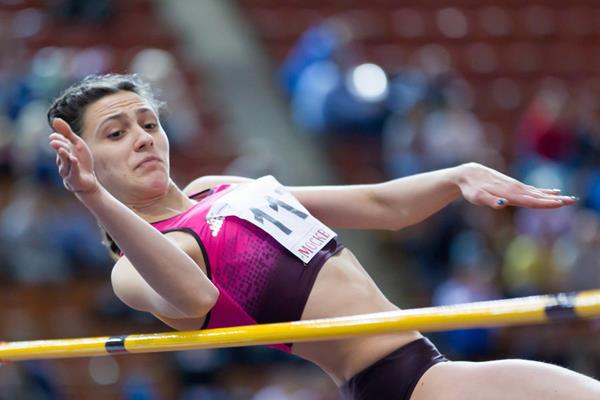 Maria Kuchina wins the high jump in Moscow (Alexander Kiselev / www.sportfoto.ru)