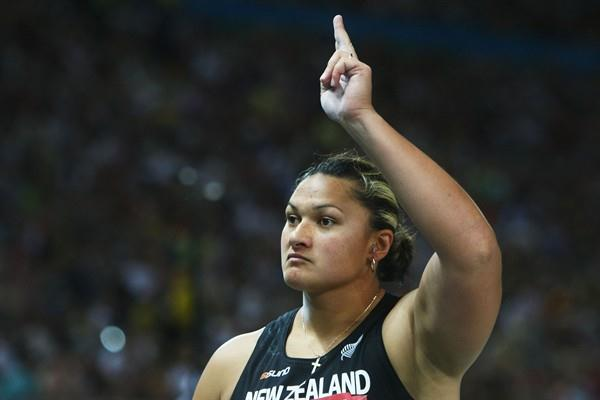 Valerie Vili of New Zealand secures gold in the women's Shot Put final (Getty Images)