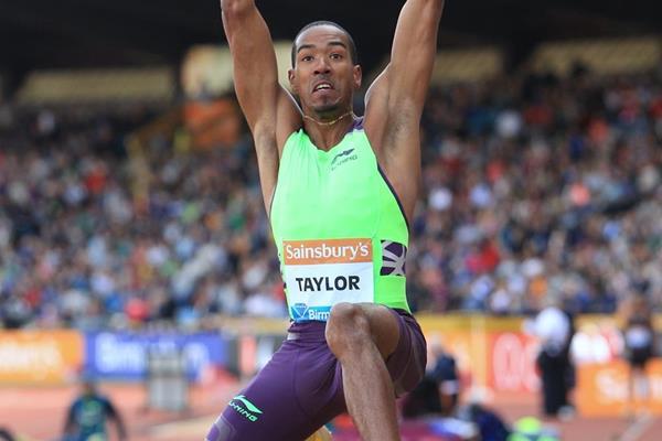 Christian Taylor at the 2014 IAAF Diamond League meeting in Birmingham (Jean-Pierre Durand)