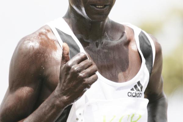World marathon champion Luke Kibet on his way to winning the 12km race at the 2009 Kenya Prisons National Cross Country Championships at the Prisons Staff Training College in Ruiru (Elias Makori)