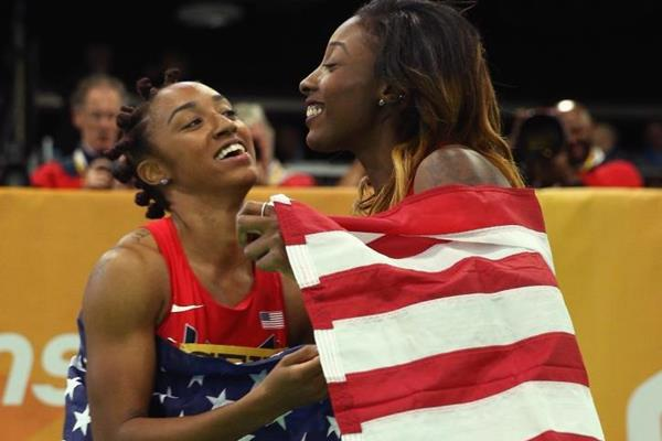 Brianna Rollins and Nia Ali after the 60m hurdles at the IAAF World Indoor Championships Portland 2016 (Getty Images)